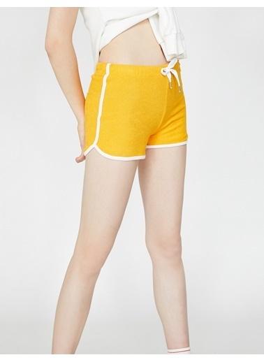 Koton Beli Bağlamalı Şort Sarı